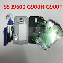Full Housing Case Back Cover + Front Screen Glass Lens + Tools For Samsung Galaxy S5 I9600 G900H G900F Complete Parts(China)