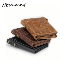 Nbsameng Genuine Crazy Horse Cowhide Leather Men Women Wallet Short Coin Purse Small Vintage Wallet Brand High Quality Designer