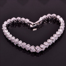 High Quality Summer Style Silver Plated Bracelets Bangles Roman Shiny CZ Diamond Heart Shape Chain Bracelets For Women