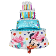 20pcs Three layers Cartoon Blue Mickey Minnie Birthday cake Candle Baby birthday Party wedding Decoration aluminum foil balloons