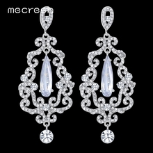 Mecresh Luxury CZ Chandelier Bridal Long Drop Earrings for Women Clear Crystal Big Hanging Earrings 2017 Wedding Jewelry EH439(China)
