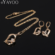 AYAYOO African Beads Jewelry Sets For Women Imitation Crystal Pendant Necklace Earrings Bridal Gold Color Jewellery Accessories