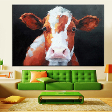 White Brown Cow Acrylic Painting Hand Painted Modern Abstract Animal Paintings on Canvas Wall Art Picture Home Decoration Unfram(China)