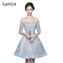 Lamya Brand Gray Lace Boat Neck Adjust Lace Up Prom Dresses 2017 Short Elegant Evening Party Gowns Women Special Occasion Dress