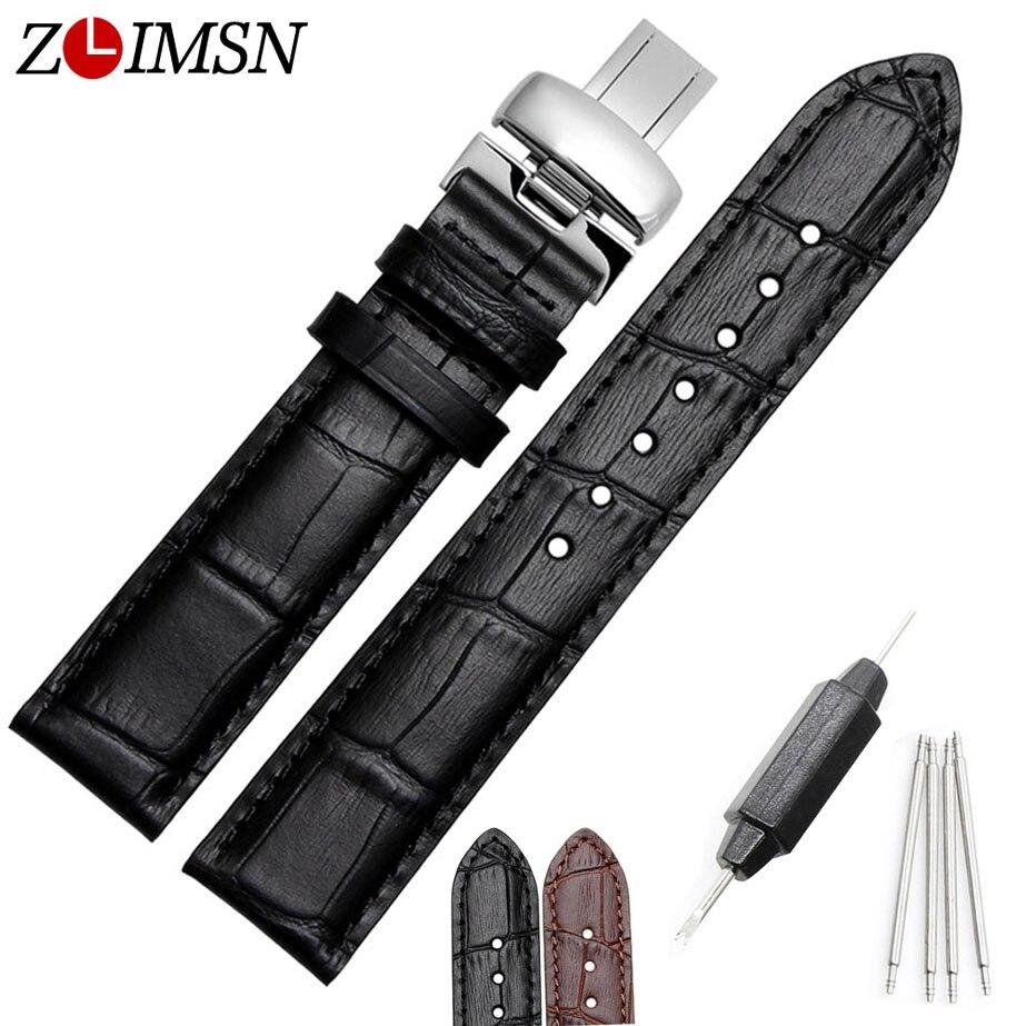 ZLIMSN 20mm 22mm Black Crocodile Grain Watchbands Genuine Leather Watch Band Strap For Tissot Butterfly Buckle Sweatband Wrist<br><br>Aliexpress