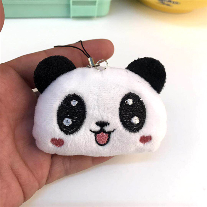 Fashion Panda Emoji Plush Toys Key Chain Ring Pom Bear Keychain Woman Bag Charms Man Car Keyring Wedding Party Trinket Jewelry (23)_