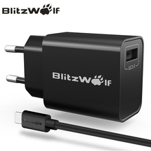 BlitzWolf QC3.0 USB Charger Travel Wall Charger Adapter Mobile Phone Charger Universal For iPhone 7 6s 6 For Samsung With Cable(China)