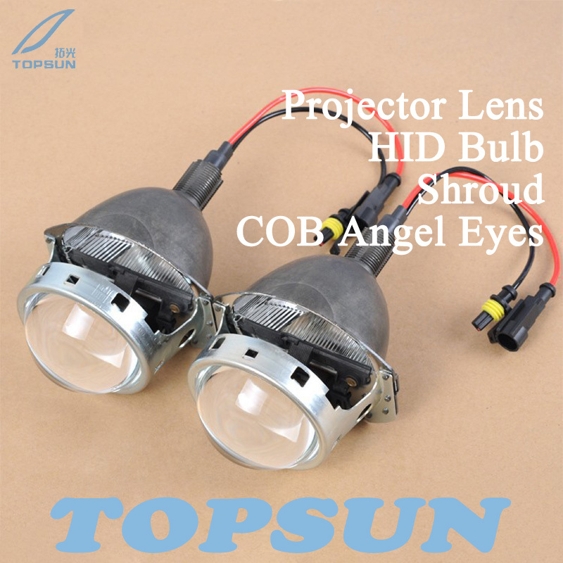 Free Shipping 3 Bifocal Q5 Projector Lens, 35W HID bulb, COB Angel Eyes and Shroud, for H1 H4 H7 H11 9005 9006 Socket<br><br>Aliexpress