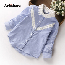 Artishare High Quality Girls Blouses Newest Autumn Spring Lace Neck Kids Girls Tops School Blouses 100% Cotton Girls Clothes