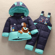 2017 New Winter Children Duck Down Jacket Set Pants-Jacket Clothing Girls Baby Coat Jacket(China)