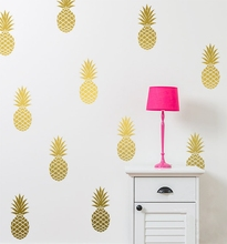Removable Pineapples Wall Decal, Large 12 Pineapples Sticker Nursery Wall Decal Party Decor Free Shipping(China)