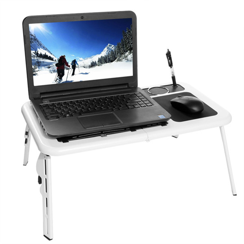 HOMDOX Laptop Stand New Portable Folding Adjustable Bed Notebook Table Desk with 2 Cooling Fans + Mouse Pad N40* <br>