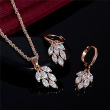 SHUANGR 1 Set Gold Color Fashion Jewelry Sets Women White Cubic Zirconia Pendant Necklace Earrings Set Party Jewelry
