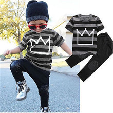Hot Autumn Baby Toddler Kids Cool Boys Clothes Striped Short Sleeve T-Shirt+Long Pants 2PCS Outfits Tracksuit set 2-8Y