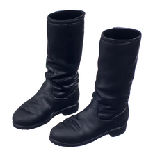 Fashionable Black 1/6 Scale Flat Long Rubber Boots Shoes Middle-heeled For 12 inch Female Figure Body Doll Clothing Accessories(China)