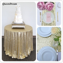 96 inches Sparkly Light Gold Sequin Glamorous Tablecloth Round Sequin Tablecloth Wedding Cake Tablecloth/ Event/ Party/ Banquet