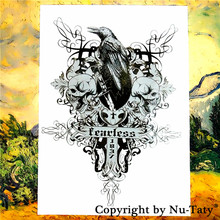 SHNAPIGN Crow Skull Cross Temporary Tattoo Body Art Flash Tattoo Stickers 21*15cm Waterproof Car Styling Home Decor Wall Sticker(China)