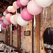 "1pc 8"" 20cm Decorative Paper Lampion Ball Festival Supplies Chinese Paper Lantern For Wedding Party Decoration(China)"