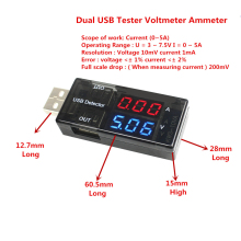 Double Row Shows USB Current Voltage Tester USB Voltage Ammeter USB Detector  Dual USB Current Voltage Charger