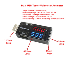 Double Row Shows USB Current Voltage Tester USB Voltage Ammeter USB Detector Dual USB Current Voltage Charger(China)