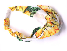 Metting Joura Vintage Bohemian Ethnic Yellow Flower Print Fabric Chiffon Cross Turban Elastic Headband Hair Accessories