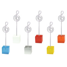 Color cube music notation wire card note photo memo picture clip holder,stand table place,customized party wedding gift,cheap