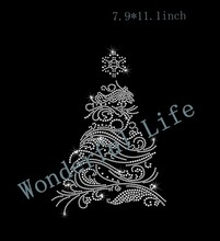 Free shipping  hotfix  rhinestone Iron On bling transfer  design  heat transfer  christmas tree image for you