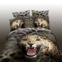 High Quality Home Textiles 3D Bedding Sets King Size 4Pcs of Duvet Cover Bed Sheet Pillowcase Bedclothes Leopard(China)