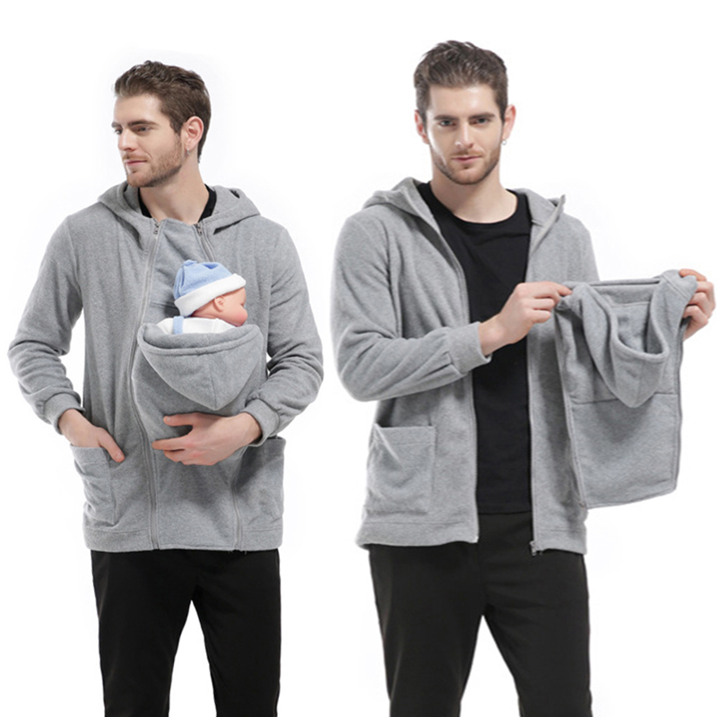 Baby Wearing Dad Coat Thick Cotton Sweatshirts Multifunctional Infant Carrier Dad Father Winter Hooded Hoodies Zipper Outerwear