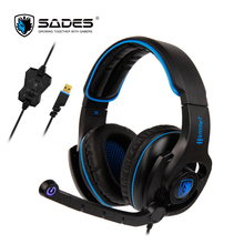 SADES HAMMER Virtual 7.1 Surround Sound Rotatable Microphone LED Lights Multifunctional In-line Controller Comfortable to Wear