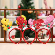 JETTING Christmas Hair Band Christmas Deer Ears Children Bell Red Antler Head Buckle Gifts Party Decoration 2017 Hot Selling(China)