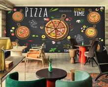 Free Shipping hand painted blackboard mural pizza shop children's room KTV Cafe Restaurant TV background pizza wallpaper mural