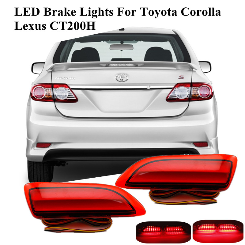 Sepcial Red rear bumper reflector lights DC12V Tail light parking warning bumper lamp for 2011-2013 Toyota Corolla/Lexus CT200H<br><br>Aliexpress