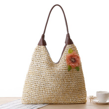 Factory Price Pastoral Flowers Temperament PU Handle Shoulder Straw Bag Woven Bag Beach Bag Designers Brand Women's Handbag