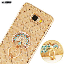 Luxury Rhinestone Phone Case cover For Samsung Galaxy A5 2016 A5100 A510F  TPU Case Finger Rotated Ring Holder Stand cases