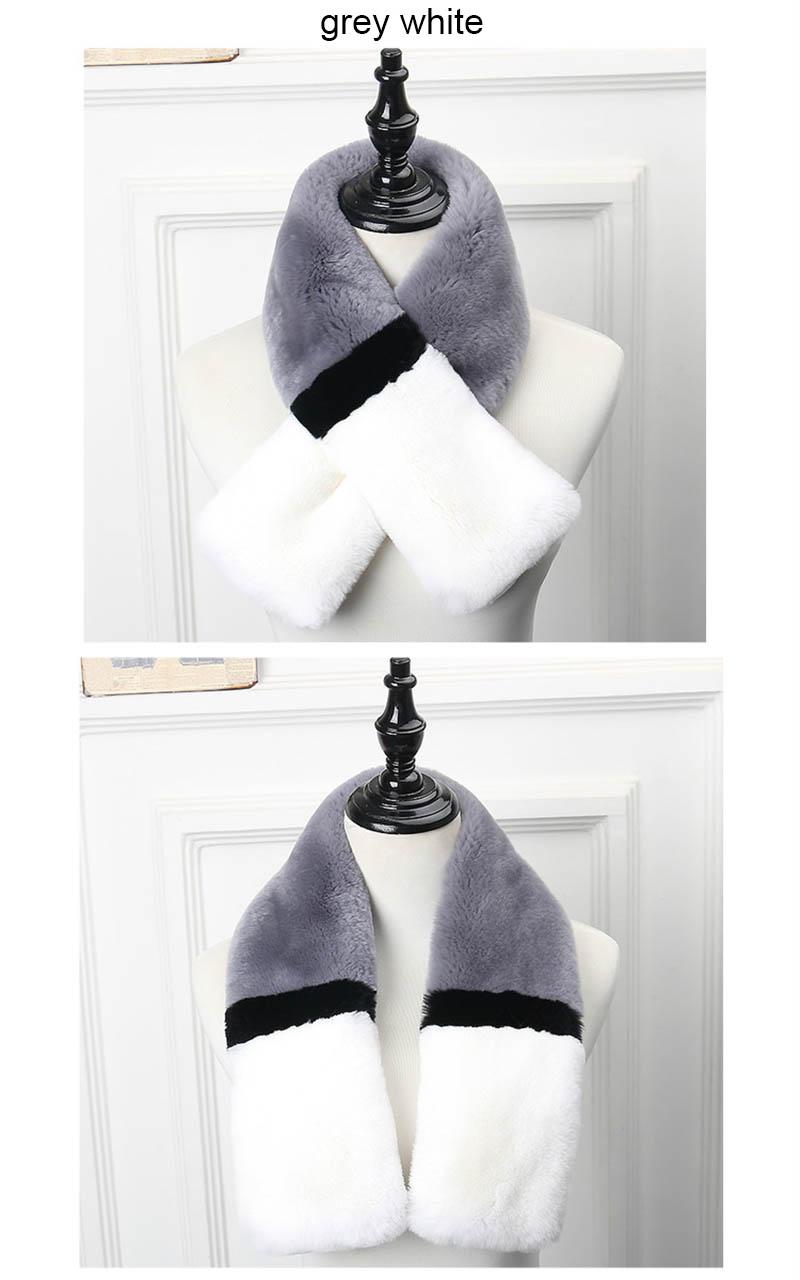color rex rabbit scarf grey white 2