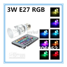Energy saving+Remote Control 16 Colors Changing RGB LED Lamp 3W E27 RGB LED Bulb 85-265V RGB light 2PCS/lot