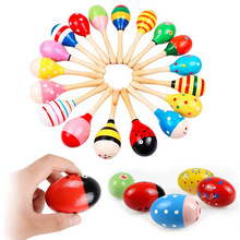 1PC Colorful Kids Wooden Maracas Ball Rattle Toy Sand Hammer Rattle Learning Musical Instrument Percussion Rattle Shaker for Bab(China)