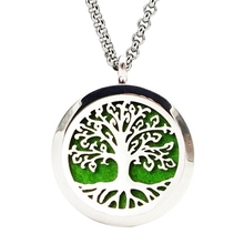 LASPERAL Hollow Tree Life Stainless Steel Essential Oil Diffuser Necklace Perfume Lockets Necklace Gifts For Women Ladies