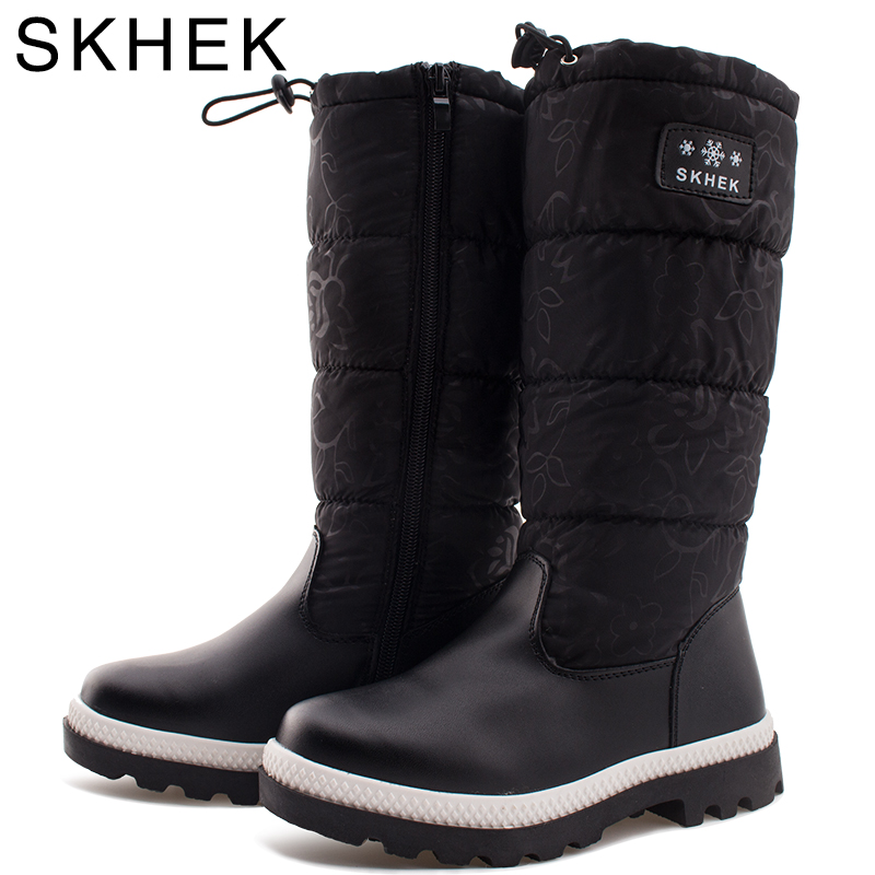 SKHEK Kids Round Toe Rubber Boots For Girls Boys platform Botas Unisex plush Shoes Flat With Designed for Russian Winter kids<br>