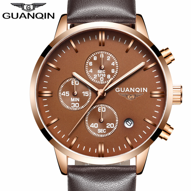 Mens Watches Top Brand Luxury GUANQIN Men Military Sport Luminous Wristwatch Chronograph Leather Quartz Watch Relogio Masculino<br>