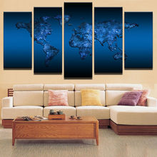 5 Panel Framed HD Printed Deep Blue World Map Wall Art Picture Modern Home Decor Living Room Canvas Painting