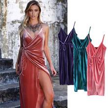 BUY LIFE 2017 V-neck lace up Open fork velvet summer formal dress plus size luxury sexy party backless women vestido Camisole(China)