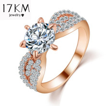 17KM Fashion Crystal Rings Rose Gold Color Big Cubic Zircon Wedding Ring For Women Fashion Jewellery Ring Full Size Anillos(China)