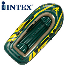 Intex seahawk 3 person pvc inflatable fishing boat 295*137*43cm boat 68349 Aluminium paddle hand pump boston valve rod holder