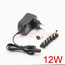 1PCS 12W Universal AC Wall Plug in Power Adapter 3v 4.5v 5v 6v 7.5v 9v 12v 1A charger with 6 pieces connection tip power supply