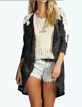 Amazon's latest explosion models in Europe and America shoulder stitching lace cardigan jacket