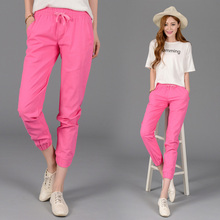 Elastic Waist Women Cotton Linen Pants Lady Jeans Girl Trousers Green/Pink/Blue M/L/XL/2XL 25/27/32/29/30/31/34