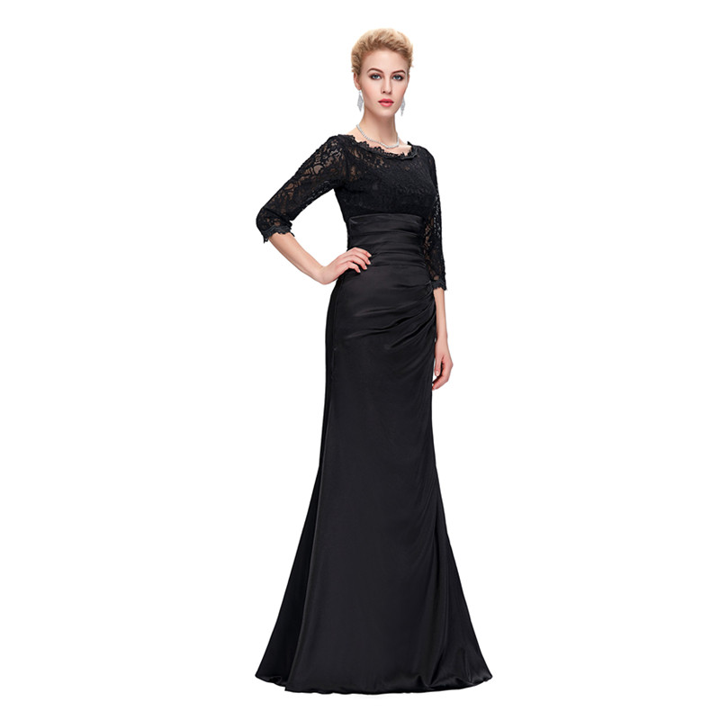 Grace Karin Lace Evening Dress 3/4 Sleeves O-neck Satin Pleated Black Special Occasion Dresses Robe De Soiree Longue 7