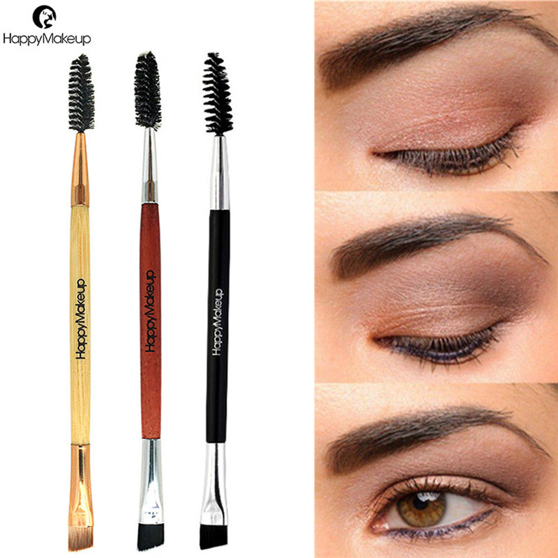 2018 NEW Eyebrow Brush Beauty Makeup Wood Handle Eyebrow Brush Eyebrow Comb Double Ended Brushes Brushes Make Up 1031(China)